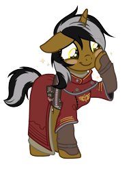 Size: 2300x3000 | Tagged: safe, oc, oc:eridani starlight, unicorn, fallout equestria, alternate universe, base used, blushing, brotherhood of steel, clothes, female, scribe, scribe robe, simple background, transparent background, ych result