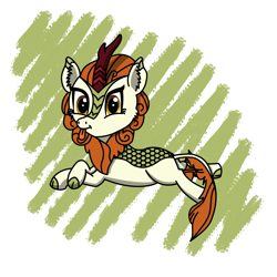 Size: 1500x1500 | Tagged: safe, artist:mlplayer dudez, autumn blaze, kirin, abstract background, cel shading, cheek fluff, cute, digital art, ear fluff, looking at you, lying down, prone, shading, tail wrap, tongue out