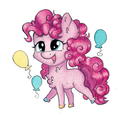 Size: 1535x1535 | Tagged: safe, artist:lightisanasshole, pinkie pie, earth pony, pony, adorable face, balloon, chest fluff, chibi, colored hooves, curly mane, cute, ear fluff, leg fluff, neck fluff, open mouth, raised eyebrow, raised hoof, redesign, simple background, smiley face, solo, transparent background, wavy mane
