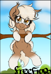 Size: 690x1000 | Tagged: safe, artist:freefraq, earth pony, pony, belly button, blushing, bush, cloud, cute, ear fluff, epona, female, grin, hang in there, hanging, leg fluff, looking at you, sky, smiling, smiling at you, solo, the legend of zelda, tree, tree branch, yellow eyes
