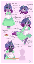 Size: 900x1697 | Tagged: safe, artist:ipun, oc, oc:galaxy lotus, anthro, unicorn, cake, chibi, clothes, dress, femboy, food, maid, male, solo, stallion