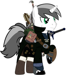 Size: 1280x1380 | Tagged: safe, artist:antone-t62newo, oc, oc:duststrife, pony, unicorn, absurd resolution, arrow, bag, male, quiver, saddle bag, simple background, sord, stallion, transparent background