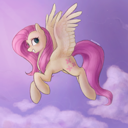 Size: 1000x1000 | Tagged: safe, artist:nodambol, fluttershy, pegasus, pony, cloud, female, flying, grin, looking at you, looking sideways, mare, sky, smiling, solo, spread wings, wings