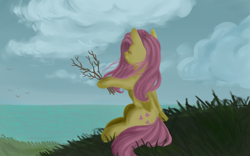 Size: 3200x2000 | Tagged: safe, artist:taika403, fluttershy, pegasus, pony, cloud, eyes closed, facing away, female, folded wings, grass, hoof hold, mare, ocean, outdoors, peaceful, scenery, sitting, sky, solo, stick, twig, wind, windswept mane, wings