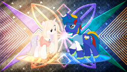 Size: 3840x2160 | Tagged: safe, artist:astralphoenix-250, artist:laszlvfx, edit, oc, oc only, oc:astral mythos, oc:glistening stars, unicorn, clothes, duo, female, glasses, male, mare, stallion, sweater, sweater vest, wallpaper, wallpaper edit