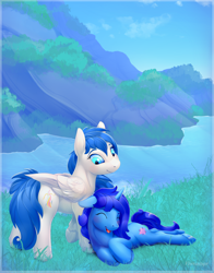 Size: 3300x4200 | Tagged: safe, artist:viwrastupr, oc, oc only, oc:delly, oc:graceful motion, pegasus, pony, unicorn, blushing, cute, date, happy, mountain, nature, outdoors, scenery, water