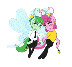 Size: 1532x1440 | Tagged: safe, artist:midnightfire1222, breezie, breeziefied, cosmo, couple, fairly odd parents, ponified, simple background, species swap, transparent background, wanda