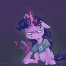 Size: 900x900 | Tagged: safe, artist:krista-21, dj pon-3, twilight sparkle, vinyl scratch, pony, can, energy drink, female, glowing horn, horn, magic, mare, messy mane, messy tail, monster energy, nightshirt, telekinesis, tired