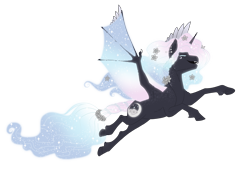 Size: 3700x2500 | Tagged: safe, artist:jackiebloom, oc, oc:morfeo, alicorn, bat pony, bat pony alicorn, bat wings, ethereal mane, horn, male, simple background, solo, transparent background, wings