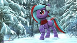 Size: 1280x720 | Tagged: safe, artist:melodiousmarci, oc, oc only, oc:star beats, pegasus, 3d, clothes, earmuffs, forest, scarf, snow, socks, solo, source filmmaker, striped socks, winter