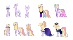 Size: 12624x6976 | Tagged: safe, artist:bublebee123, oc, oc only, oc:stardust serenade, pony, unicorn, icey-verse, absurd resolution, belt, clothes, costume, cuffs, curved horn, dress, ear piercing, earring, female, gala dress, hate, horn, jewelry, leg warmers, magical lesbian spawn, makeup, mare, markings, multicolored hair, necktie, nightmare night costume, offspring, parent:fuchsia blush, parent:lavender lace, parents:fuchsiavender, piercing, police officer, rainbow power, rainbow power-ified, shirt, shorts, simple background, solo, transparent background