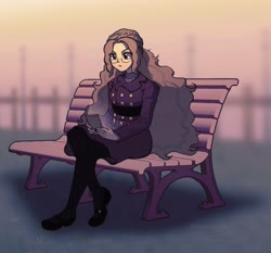 Size: 2699x2513 | Tagged: safe, artist:rileyav, adagio dazzle, equestria girls, alternate hairstyle, bench, cellphone, clothes, coat, female, glasses, phone, sitting, smartphone, solo