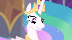 Size: 1920x1080 | Tagged: safe, princess celestia, alicorn, pony, princess twilight sparkle (episode), beautiful, canterlot, cute, cutelestia, female, mare, smiling, solo