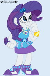 Size: 528x800   Tagged: safe, artist:mirabuncupcakes15, rarity, equestria girls, blue background, bracelet, clothes, cute, dress, female, high heels, jewelry, raribetes, shoes, simple background, skirt, smiling, solo
