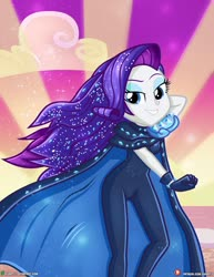 Size: 1500x1942 | Tagged: safe, alternate version, artist:dieart77, rarity, equestria girls, equestria girls series, the other side, arm behind head, bedroom eyes, cape, clothes, looking at you, solo, unitard