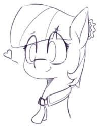 Size: 604x730 | Tagged: safe, artist:pinkberry, coco pommel, earth pony, bust, eyebrows visible through hair, female, heart, mare, monochrome, sketch, smiling, solo