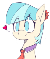 Size: 576x682 | Tagged: safe, artist:pinkberry, coco pommel, earth pony, blushing, bust, colored pupils, colored sketch, drawpile, eyebrows visible through hair, female, heart, mare, sketch, smiling, solo
