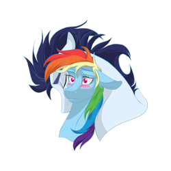Size: 1600x1600 | Tagged: safe, artist:im-not-sure-yet, rainbow dash, soarin', pegasus, pony, blushing, bust, cuddling, eyelashes, eyes closed, female, floppy ears, head down, male, raised eyebrow, shipping, simple background, snuggling, soarindash, straight, transparent background