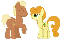 Size: 1024x683 | Tagged: safe, artist:dragonchaser123, carrot top, golden harvest, meadow song, pony, butt, commission, eyes closed, female, male, mare, plot, raised hoof, simple background, smiling, stallion, transparent background, vector