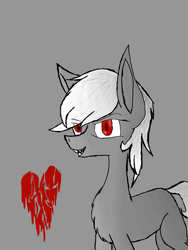 Size: 2121x2828 | Tagged: safe, artist:prismicdiamondart, oc, oc only, oc:bleeding heart, earth pony, pony, chest fluff, earth pony oc, gray background, heart, red eyes, simple background, smiling, solo
