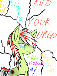 Size: 2121x2828 | Tagged: safe, artist:prismicdiamondart, oc, oc only, earth pony, pony, chest fluff, crying, earth pony oc, solo, text