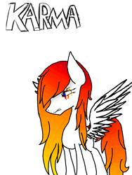 Size: 2121x2828 | Tagged: safe, artist:prismicdiamondart, oc, oc only, oc:karma, pegasus, pony, eye scar, pegasus oc, scar, simple background, solo, white background, wings