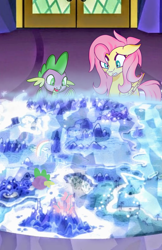 Size: 1507x2330 | Tagged: safe, artist:mysteriousshine, fluttershy, spike, dragon, pegasus, pony, cutie map, duo, female, male, mare, winged spike, worried