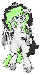 Size: 1140x2144 | Tagged: safe, artist:lucas_gaxiola, oc, oc only, pegasus, pony, arm behind head, armpits, body pillow, body pillow design, female, glasses, hoof hold, mare, on back, pegasus oc, signature, smiling, solo, unshorn fetlocks, wings