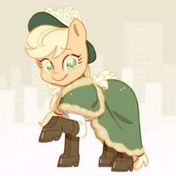 Size: 2048x2048   Tagged: safe, artist:chapaghettii, applejack, earth pony, pony, applejack also dresses in style, boots, clothes, cute, dress, female, hat, high res, jackabetes, mare, no pupils, raised hoof, shoes, solo