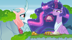 Size: 4000x2250 | Tagged: safe, artist:orin331, ocellus, twilight sparkle, alicorn, changedling, changeling, changeling queen, the last problem, alternate design, changeling food, ethereal mane, female, food, jewelry, older, older ocellus, peytral, princess twilight 2.0, queen ocellus, regalia, scrunchy face, starry mane, this will not end well, twilight sparkle (alicorn), ultimate twilight, wavy mouth