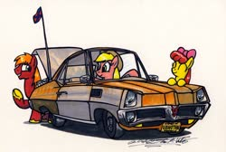 Size: 1024x689 | Tagged: safe, artist:sketchywolf-13, apple bloom, applejack, big macintosh, earth pony, pony, alcohol, apple siblings, apple sisters, brother and sister, car, confederate flag, cowboy hat, driving, hat, moonshine, pontiac, pontiac parisienne, siblings, simple background, sisters, traditional art, trunk, white background