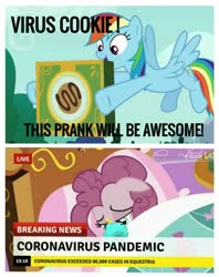 Size: 1275x1608 | Tagged: safe, edit, edited screencap, screencap, pinkie pie, rainbow dash, 28 pranks later, bad end, breaking news, coronavirus, covid-19, covidiots, prank, prank gone wrong, rainbow douche, we are going to hell