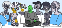 Size: 1841x841 | Tagged: artist needed, safe, zecora, oc, oc:anon, zebra, couch, hug life, imminent rape, imminent sex, meme, piper perri surrounded, sitting