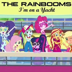 Size: 2000x2000   Tagged: safe, edit, edited screencap, editor:grapefruitface, screencap, applejack, fluttershy, pinkie pie, rainbow dash, rarity, sci-twi, sunset shimmer, twilight sparkle, equestria girls, i'm on a yacht, spoiler:eqg series (season 2), clothes, humane five, humane seven, humane six, looking at you, single cover, the rainbooms