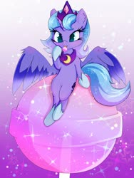 Size: 3000x4000 | Tagged: safe, artist:zokkili, princess luna, alicorn, pony, belly button, candy, chibi, cute, female, filly, food, jewelry, lollipop, lunabetes, purple background, simple background, sitting, solo, spread wings, tiara, tongue out, wings, woona, younger