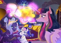 Size: 1495x1057 | Tagged: safe, artist:bunnari, twilight sparkle, oc, oc:astral tone, oc:spectra nocturna, alicorn, pony, unicorn, female, filly, magic, magical lesbian spawn, offspring, parent:nightmare moon, parent:twilight sparkle, parents:twimoon, twilight sparkle (alicorn)