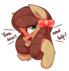 Size: 3811x3907 | Tagged: safe, artist:maren, yona, pony, yak, she's all yak, blushing, bust, cute, female, mare, monkey swings, ponified, pony yona, portrait, simple background, solo, species swap, transparent background