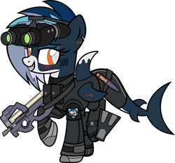 Size: 7000x6563 | Tagged: safe, artist:icey-wicey-1517, artist:n0kkun, color edit, edit, oc, oc only, oc:sea strike, original species, pony, shark, shark pony, bedroom eyes, bodysuit, boots, clothes, collaboration, colored, dynamite, explosives, eye scar, fangs, female, flippers, fn p90, gills, gloves, goggles, gun, knife, mare, mouth hold, multicolored hair, night vision goggles, p90, patch, pouch, raised hoof, raised leg, scar, shark teeth, shoes, simple background, solo, straps, submachinegun, tnt, transparent background, uniform, weapon, wetsuit