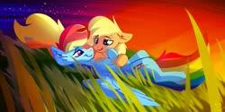 Size: 4096x2049   Tagged: safe, artist:spntax, applejack, rainbow dash, earth pony, pegasus, pony, appledash, female, grass, grass field, lesbian, lying down, night, night sky, shipping, sky, spread wings, stars, wings