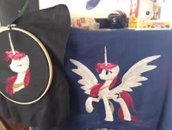 Size: 4160x3120 | Tagged: safe, artist:partsanddrafts, oc, oc only, oc:fausticorn, alicorn, pony, cross stitch, embroidery, photo