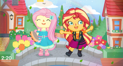 Size: 4630x2500 | Tagged: safe, artist:invisibleink, fluttershy, sunset shimmer, equestria girls, equestria girls series, animal crossing, animal crossing: new horizons, bridge, chibi, clothes, duo, flower, house, musical instrument, rainbow, shoes, tambourine, villager