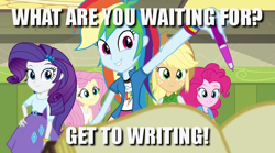 Size: 640x357 | Tagged: safe, edit, edited screencap, screencap, applejack, fluttershy, pinkie pie, rainbow dash, rarity, equestria girls, rainbow rocks, caption, expecting, grin, humane five, image macro, inspiration, meme, motivational, pen, positive ponies, smiling, text, writing