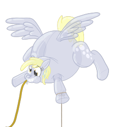 Size: 2508x2820 | Tagged: safe, artist:sixes&sevens, derpy hooves, balloonie pony, inflatable pony, original species, pegasus, female, forced smile, inanimate tf, inflatable, inflation, mare, rope, simple background, smiling, transformation, transparent background