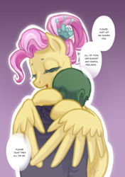Size: 1045x1482   Tagged: safe, artist:saby, fluttershy, oc, oc:anon, human, pegasus, pony, 4chan, clothes, colored lines, comforting, cute, dialogue, drawthread, eyes closed, feels, female, finished version, full color, gradient background, hug, male, mare, older, older fluttershy, ponified, ponified scene, shirt, shyabetes, simple background, speech bubble, white outline, wholesome, winghug