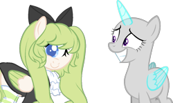 Size: 1097x654   Tagged: safe, artist:skulifuck, oc, oc only, alicorn, cyclops, pegasus, pony, alicorn oc, bald, base used, bow, clothes, dress, duo, eyelashes, female, grin, hair bow, horn, mare, missing eye, pegasus oc, simple background, smiling, transparent background, wings