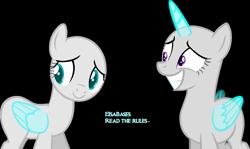 Size: 1097x654   Tagged: safe, artist:eisabases, oc, oc only, alicorn, pegasus, pony, alicorn oc, bald, base, duo, eyelashes, grin, horn, pegasus oc, simple background, smiling, transparent background, wings
