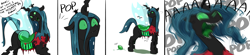Size: 3935x859   Tagged: safe, artist:testostepone, queen chrysalis, oc, oc:acesential, changeling, changeling queen, chrysalis can't hold her eggs, clothes, comic, dialogue, egg, egg laying, fangs, female, freaking out, human to changeling, implied transformation, onomatopoeia, oviposition, polo shirt, post-transformation, quadrupedal, simple background, torn clothes, white background