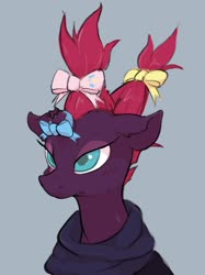 Size: 1535x2048 | Tagged: safe, artist:noupu, fizzlepop berrytwist, tempest shadow, pony, unicorn, alternate hairstyle, bow, broken horn, bust, clothes, cute, eye scar, female, gray background, hair bow, horn, implied pinkie pie, mare, portrait, pretty pretty tempest, scar, simple background, solo, tempest shadow is not amused, tempestbetes, three quarter view, unamused