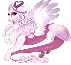 Size: 2700x2500   Tagged: safe, artist:gigason, oc, oc only, draconequus, hybrid, chest fluff, female, high res, interspecies offspring, lidded eyes, male, offspring, parent:discord, parent:princess cadance, parents:discodance, paw pads, paws, simple background, solo, transparent background, underpaw