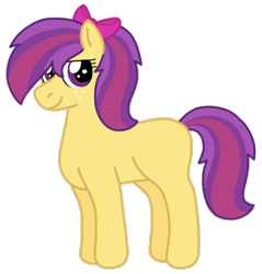 Size: 874x914   Tagged: safe, artist:kindheart525, oc, oc only, oc:pippin rose, earth pony, pony, kindverse, bow, hair bow, looking at you, next generation, offspring, parent:apple bloom, parent:tender taps, parents:tenderbloom, ponytail, profile, simple background, smiling, solo, transparent background